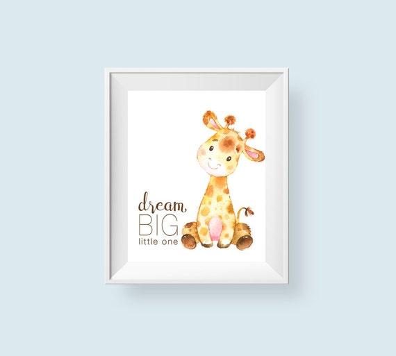 Dream Big Little One Printable Wall Art Baby Giraffe Nursery