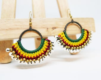 Green Yellow Red Braided Rope White Gold Beaded Charm Drop I Hoop Dangle Earrings Handmade Jewelry Brass Wire I Hook