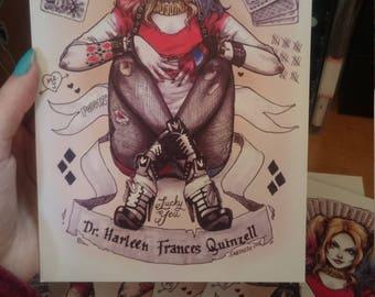 Harley Quinn in Copic Marker - Small Digital Print