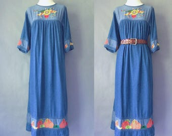 vintage denim embroidered moo moos dress/maxi dress size S/M/L
