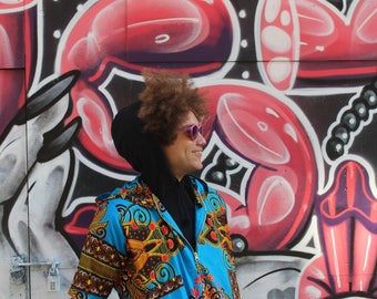 Bomber Jacket - Cherno Jacket - African Gillet - Wax Jacket - Festival Clothing - African Clothing - Festival Jacket - Festival Shirt