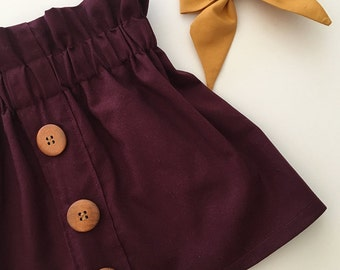Girl's Skirt/ Buttons in a Row/Egglplant/High Waisted/Custom