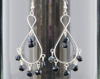 Black Faceted Chandelier Earrings