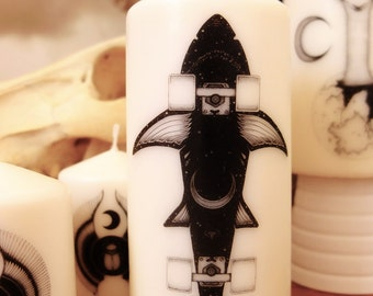 "Bougie Skate requin fait main, estampillée noir et blanc - Candles Design // SKATE SHARK // ""Home Sweet Home"" Décoration"