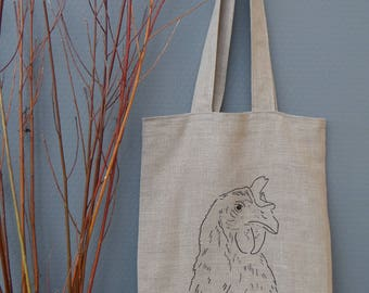 Tote, Linen tote, embroidered shoulder bag tote, Hen portrait embroidery, Hand embroidery