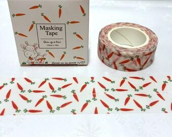 carrot washi tape 10M orange vegetable cartoon carrot sticker tape cute veggie masking tape cute tape scrapbook