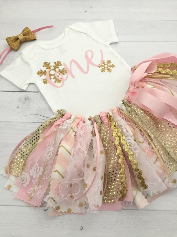 Pink And Gold Winter Wonderland Birthday Outfit With Gold Bow