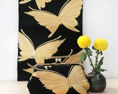 Vintage Japanese Obi Clutch Purse | Butterfly in Gold and Black