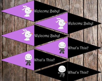 Cupcake Flags - The Nightmare Before Christmas -  Baby Shower - Instant Download - Print At Home - DIY - Purple - D0001