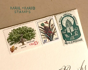 Greenery || Set of unused vintage postage stamps to mail 5 standard letters
