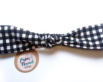Ladies headband - knotted, tie, turban style, rockabilly, retro, womens, hairband, elasticised, black and white, gingham, check, checkered