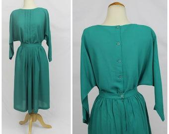 VINTAGE 70's Patty Woodward California Teal Jade Button Back Dolman Sleeve Dress