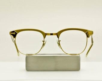 NOS SHURON Ronsir USA Alum Cat Eye Gold Filled Eyeglass/Sunglass Frame, Clubmaster, Retro Browline Eyeglass Frames