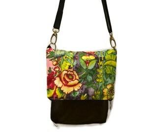 Women bag, Crossbody bag, Small fabric bag, Unique handmade bag, Gift for her