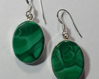 Genuine Malachite Oval Sterling Silver