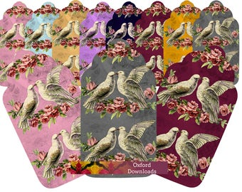 Victorian Dove Printable Gift Tags, Valentines Day, Mothers Day, Digital Download, Victorian Art, Scrapbook Paper, Collage, Decoupage, Birds