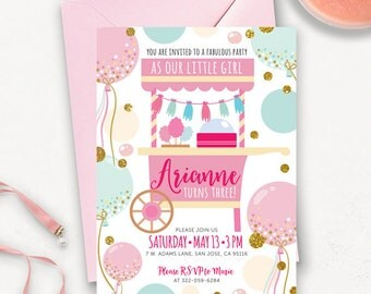 Cotton Candy Birthday Invitation Printable /  County Fair Printable Birthday Invitation / Candy Shoppe Printable Birthday Invite