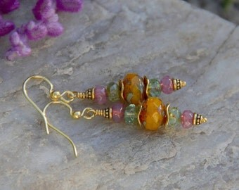 Happy Princess Earrings, Czech Glass Earrings,  Antique Gold Earrings