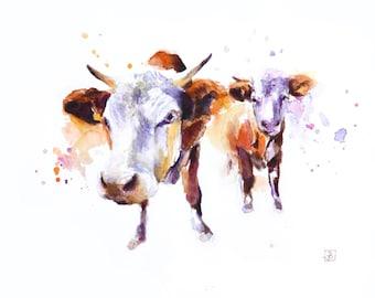 Cows, Original Painting, Original Watercolor Painting
