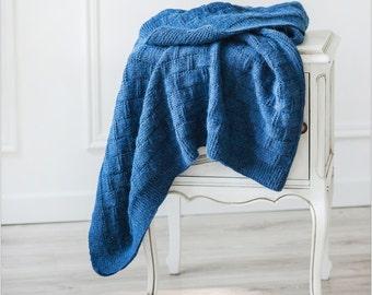 Knit Baby Blanket Blue Blanket Alpaca Blanket Knitted Baby Blanket Baby Shower Gift Knitted Blanket Newborn Blanket Hand Knit Blanket