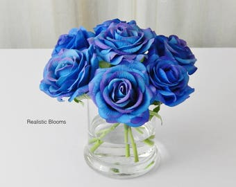 Royal blue, rose/roses, glass vase, faux water, acrylic, illusion, silk, Real Touch flowers, floral arrangement, centerpiece, decor, gift
