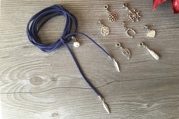 Marine blue suede strap, with choice of charm