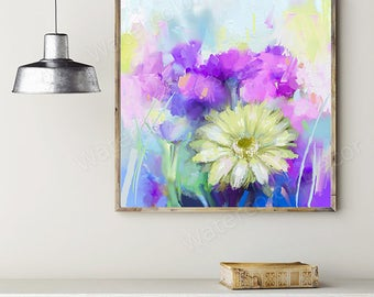 Abstract Floral Oil Painting - Nature Beauty Wall Decor - Housewarming Gift