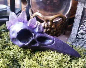 Faux Amethyst Crystal Raven Skull