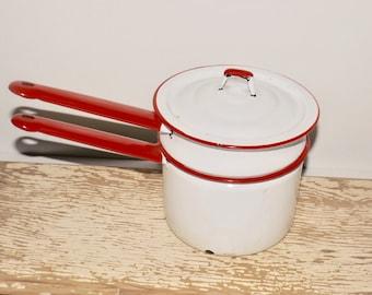 White enamel pot cookware,red trim,double boiler,red handles,enamel sauce pot,white enamelware,rustic enamel,farmhouse cookware,kitchen