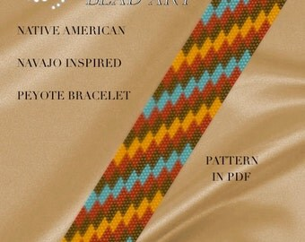 Pattern, peyote bracelet - Native American Navajo inspired peyote bracelet cuff pattern in PDF