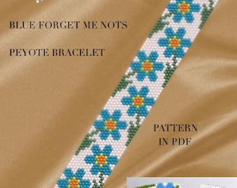 Peyote Pattern for bracelet - Blue forget me nots flowery peyote bracelet pattern PDF instant download