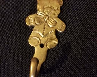 Brass Wall Hook, Teddy Bear Shaped Nursery Theme Decor, Garden Organizer