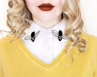 Bee Shaped Detachable Embroidered Peter Pan Lapel Fake Collar/Half Shirt