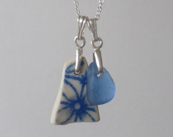 Dainty Duo of Beach Pottery and Sea Glass Sterling Silver Necklace, Beach Glass, Seaglass, Beach Jewelry, Seaglass Pendant, Blue, Flower