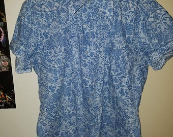 Blue 70s Medium Mens Short Sleeve button up