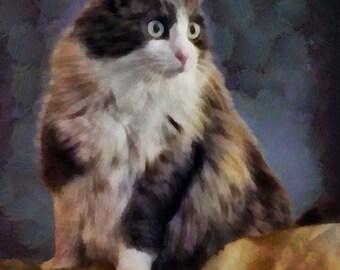 CAT Portrait, Custom cat portrait, Pet Portrait, Cat Painting, Cat Memorial, Digital Painting from your photo, Free Shipping!