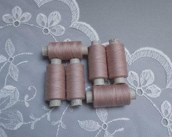 Vintage unused cotton thread spool set of 6 retro pink sewing thread spools paper bobbins Soviet craft supply made in Belarus