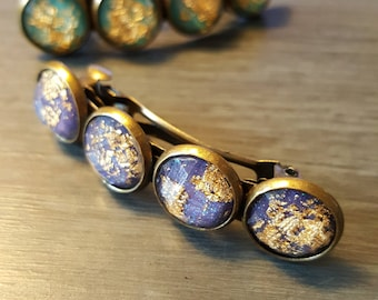 Gold Diamonds pin - blue and purple cabochons faceted with gold foil - treasure - ocean - reflections - Valentine's day
