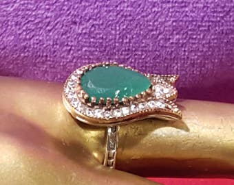 Sterling Silver 9.25 stamped.Genuine Emerald ring.Art deco ring Gold over silver ring.Handmade .Bridal Gift.Antique.Wedding Jewelry.R-381