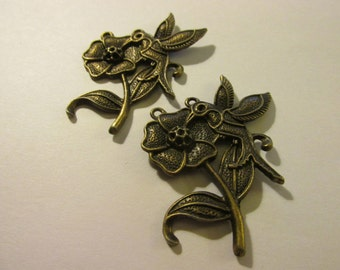 """Brass Metal Forged Hummingbird and Flower Charm-Pendant, 2"""", Set of 2"""