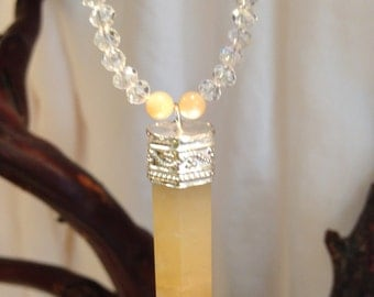 Yellow Quartz Crystal Point with Mother of Pearl Necklace