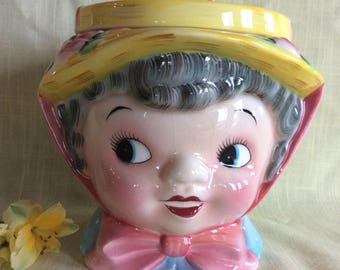 Rare Gray hair Miss Dainty cookie jar ceramic John Zolton Lefton China Co