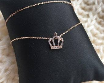 Rose Gold Necklace Crown with Little Star and Zircon Stone, Diamondish Decoration, Gift for Her, Delicate Necklace