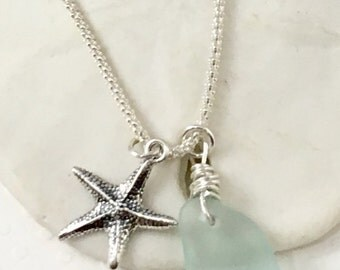 Sea glass necklace, Sterling Silver Sea Glass Jewelry, Starfish Charm, Anchor Charm, Aqua Blue Green, Christmas, Unique Gift Coast Maine