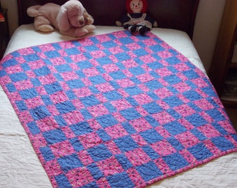 Pink and Blue Crib or Lap Quilt