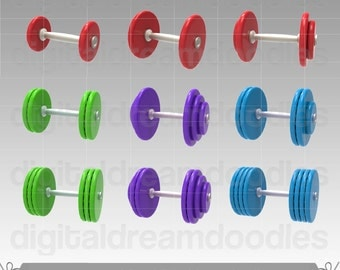 Dumbbell Clipart, Barbell Clipart, Exercise Clipart, Workout Clipart, Fitness Clipart, Gym Clipart, Weight Lifting Clipart, Digital Download