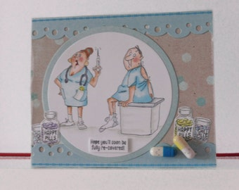 Get well card - Funny card - Blank double greeting card - Hand colored - Main card color is light blue