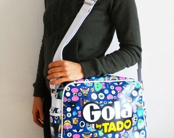 Teen Messenger Bag Vegan Leather Zipper Shoulder Bag Sports Weekender Bag School Fun Bag Gola Retro