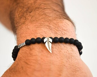 Men's Black Bracelet, Men's Bracelet, Men's Jewelry, Gift for Him, Made in Greece by Christina Christi Jewels.