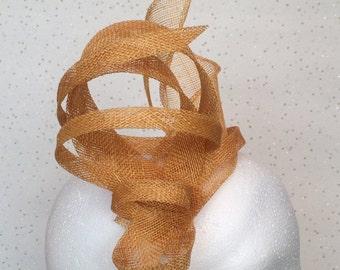 Ochre Yellow Fascinator Hatinator Headpiece Wedding Gold Fascinator on Clip or Comb Bespoke Goodwood